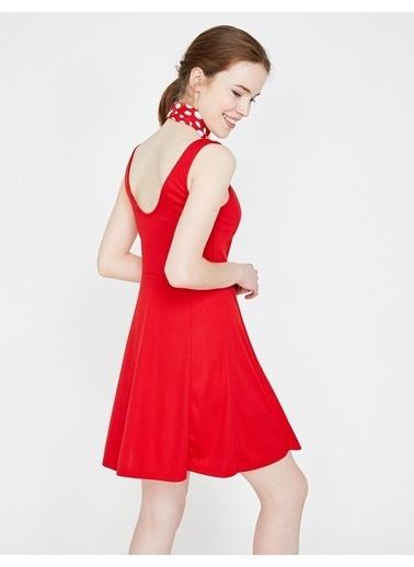 Koton Askılı Kloş Elbise Kırmızı